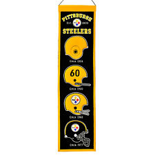 """Pittsburgh Steelers 32"""" Embroidered Genuine Wool Heritage Banner NWT NFL"""