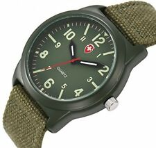 Vavna Lucky Unisex Canvas Strap Swiss Army Quartz Crime Army Watch Military -