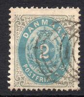 Denmark 2 Skilling Blue Stamp c1870-71 Used (2245)