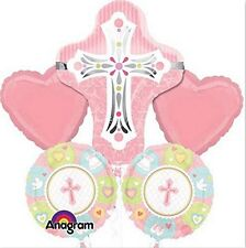 PINK RELIGIOUS CROSS FOIL BALLOON BOUQUET CHRISTENING FIRST COMMUNION PARTY