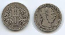 G4290 - Österreich 1 Krone 1897 Wien KM#2804 RAR Jahr Silber Franz Joseph I