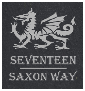 Rustic Personalised Welsh Dragon Slate Door / House Sign / Number / Plaque