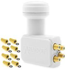 Anadol Gold Line Quad LNB 0.1 dB 4 Teilnehmer inklusive 8 vergoldete F-Stecker