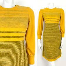 VINTAGE 60s 70s HONEY YELLOW MOSS GREEN STRIPED MOD WOOL SHIFT DRESS 10 12