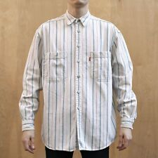vtg 90's Levi's Utility Shirt Denim Cotton Twill White Striped Metal Buttons M/L
