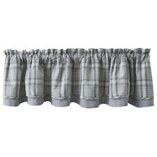 "1 Hartwick Grey Plaid Country Cotton Lined Layered Valance 72"" x 16"""