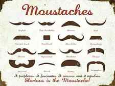 Moustache Chart Metal Sign, Man Cave, Humor