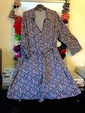 3/4 Sleeve Casual Floral Shirt Dresses for Women