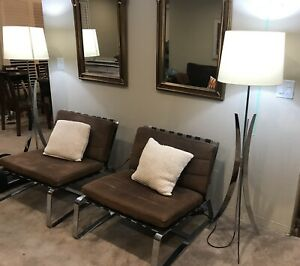 Minotti Delaunay Barcelona Brown Suede Chairs (2)