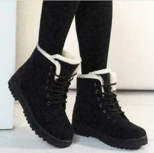 UK Women's Winter Snow Boots Fur Lining Comfortable Soft Flat Shoes With Laces