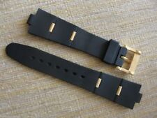 Black Rubber Watch Band Strap Yellow Gold Clasp Links FIT/BVLG Diagono 22mmX8mm