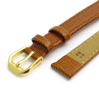 Apollo Genuine Leather Watch Band Tan Lizard Grain 8mm 10mm 12mm 18mm 20mm