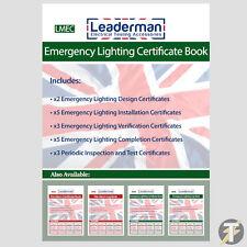 Libro de certificado de iluminación de emergencia Leaderman lmec con 18 certificados