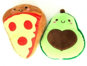 "LARGE 6"" Plush Anthropomorphic Avocado Pizza Slice Backpack Bag Clip Food Anime"