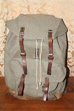 Vintage 1969 SWISS ARMY MILITARY Salt & Pepper Canvas Leather Rucksack Backpack