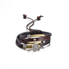 Taiji Yin Yang Ba Gua Couples His and Hers Beaded Braided Leather Bracelet