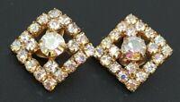 Vintage Juliana AB Rhinestone Gold tone Clip Earrings