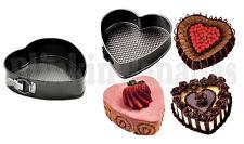 2 SMALL MINI HEART SHAPE SPRINGFORM BAKING CAKE TIN TRAY DISH LOOSE BOTTOM BASE