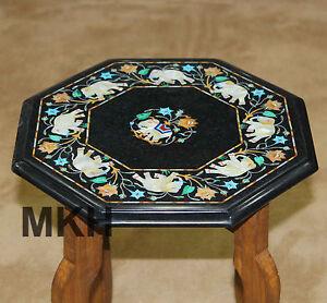 "12"" Black Marble Coffee Table Handmade Inlay Pietra dura Home Decor Side Tables"