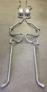 1959-1960 CADILLAC DUAL EXHAUST SYSTEM, ALUMINIZED WITHOUT RESONATORS