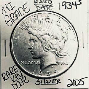 1934 S PEACE SILVER DOLLAR HI GRADE GENUINE U.S. MINT RARE KEY COIN 2105