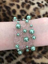 Knitted Wire Bracelet Pink and Green Bracelet Copper Bracelet Handmade