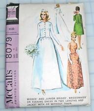 Vtg McCall's WEDDING  Bridesmaid DRESS Gown & Jacket w/ Train Pattern 8078 Sz 9