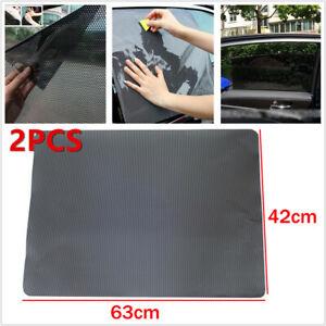 2PCS Large Car Side Window Net Sun Shade Shied Solar Mesh Film Sticker Anti-UV