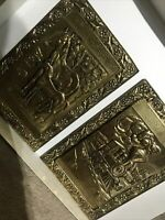 2x BRASS WALL HANGING EMBOSSED PICTURES - Peerage - TRAIN - HORSE AND FOAL 17cm
