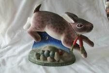 """Leo R Smith Folk Art Figurine -""""A Merry Brown Hare Came Leaping""""-Rabbit/Carr ots"""