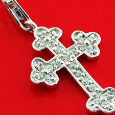 CROSS PENDANT GENUINE REAL 925 STERLING SILVER DIAMOND SIMULATED ANTIQUE DESIGN
