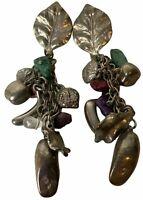 """Vintage Stud Pierced Dangle Earrings Multi Colored Leaf Bead Costume Retro 10.5"""""""