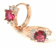 Women's 18 Carat Rose Gold Plated Red Cubic Zirconium Huggie earrings Jewellery