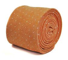 Frederick Thomas Pêche/Orange à Pois Cravate 100% coton lin FT2177 RRP £ 19.99
