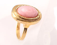 Sarah Coventry, Vintage 1960s Gold Tone Pink Stone Ring, Size P to R Adjustable