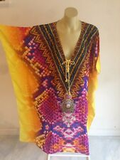 Designer 100% Silk Crepe Crystal Embellished Kaftan PRICE REDUCED