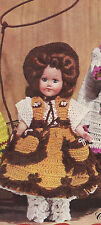 Vintage Crochet PATTERN to make 8 inch Doll Clothes Cowgirl Skirt Vest Hat Pants