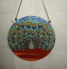 "Peacock Motif Fused Art Glass Round Extra Large Suncatcher 8"" Ecuador Fair Trade"