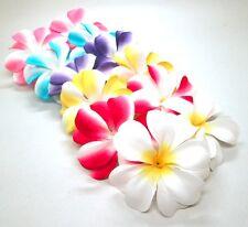 "12 Mixed Hawaiian Plumeria Frangipani 3"" Artificial Silk Flower Head Wedding Lot"