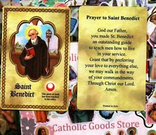St. Saint Benedict with Prayer - Relic Paperstock Holy Card