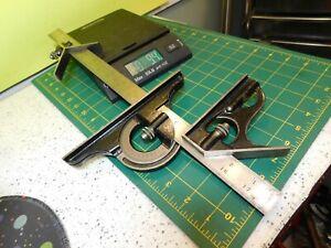 """L.S.Starrett no.4 18"""" ruler w/Combination square, center Head & #490 Protractor"""