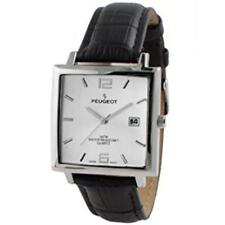 Peugeot Men's Modern Rectangular Black Leather Strap Watch 2062SL