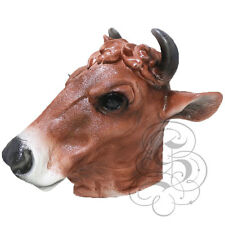 NEW ! Latex Animal Realistic Brown Cow Cosplay Fancy Dress Carnival Mask