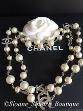 "CHANEL CLASSIC 5 SILVER CRYSTAL  CC's WHITE PEARL 42"" LONG NECKLACE CATWALK"
