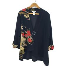 Moonlight Y & S Kimono Jacket Womens Small Black Red Asian Floral Print
