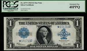 """1923 $1 Silver Certificate FR-237* - """"Star Note"""" - Graded PCGS 40PPQ"""