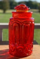 """L.E. SMITH MOON & STARS AMBERINA RED 11.25"""" APOTHECARY CANISTER & LID COOKIE JAR"""