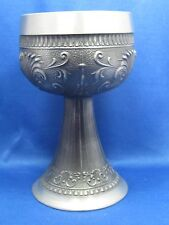 "6"" Antique Made in Germany Embossed Solid Pewter High Heel Cup Beautiful Scenes"