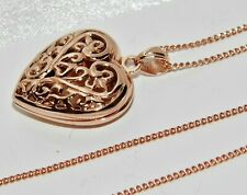 9ct Rose Gold on Silver Filigree Heart Locket Pendant / Necklace
