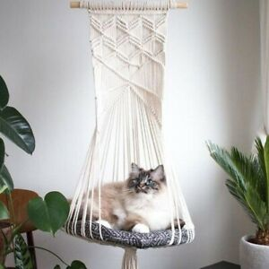 Cat Hammock Tapestry Swing Bed Hanger Macrame Wall Hanging Shelf Home Decoration
